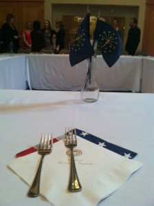 The place settings at our dinner. I helped set the table!